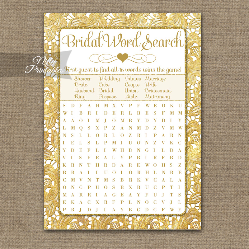 bridal shower word search game gold lace