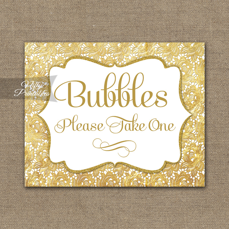 Bubbles Wedding Sign - Gold Lace