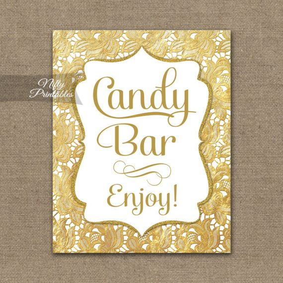 Candy Buffet Sign - Gold Lace