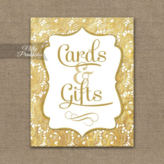 Cards & Gifts Sign - Gold Lace