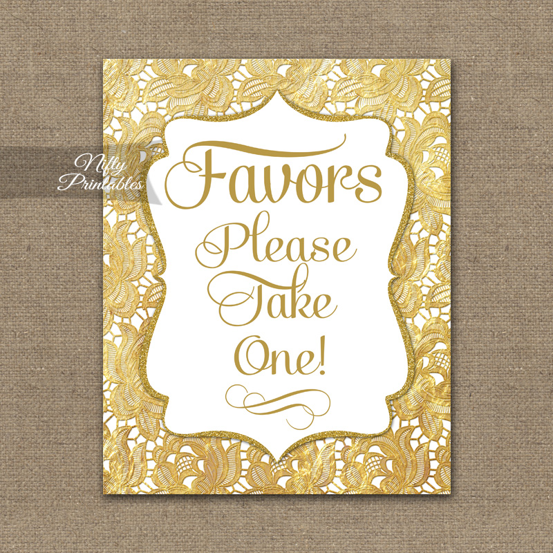 Favors Sign - Gold Lace