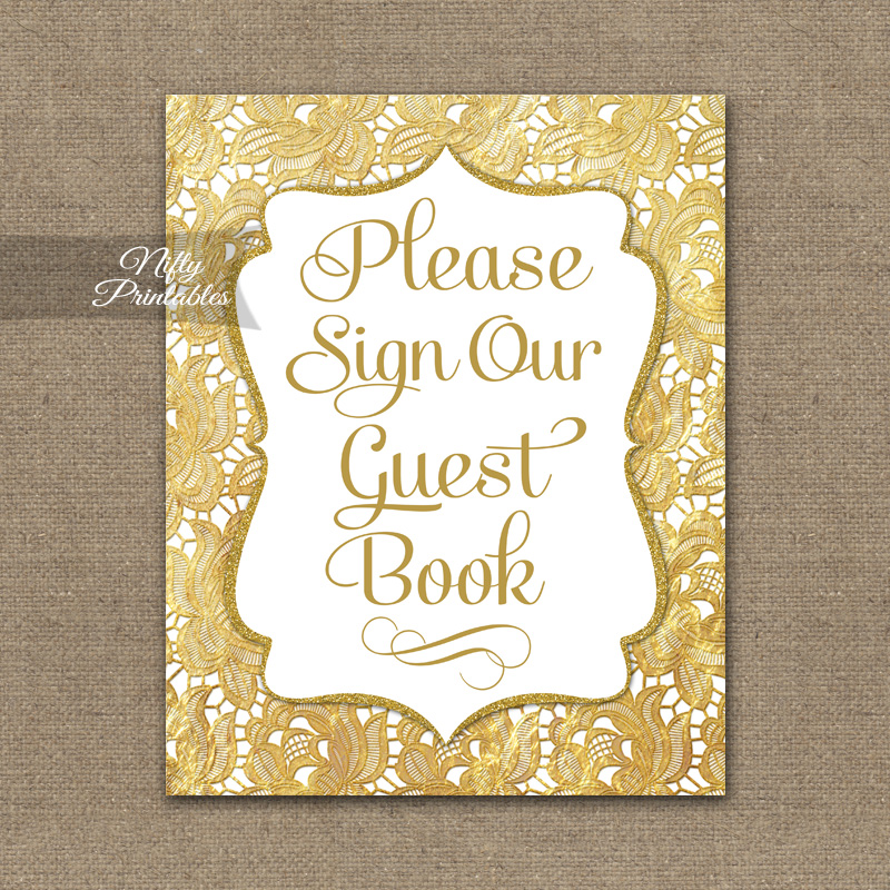 Guest Book Sign - Gold Lace