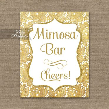 Mimosa Bar Sign - Gold Lace