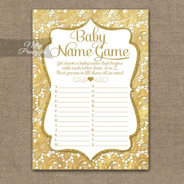 Name Game Baby Shower - Gold Lace