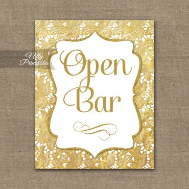 Open Bar Sign - Gold Lace