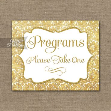 Programs Please Take Sign - Gold Lace
