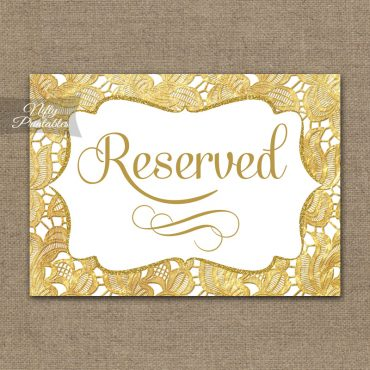 Reserved Sign - Gold Lace