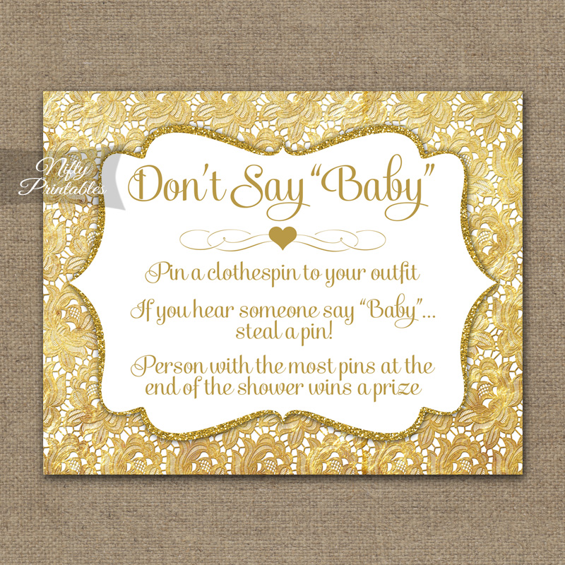 Don't Say Baby Shower Game - Gold Lace