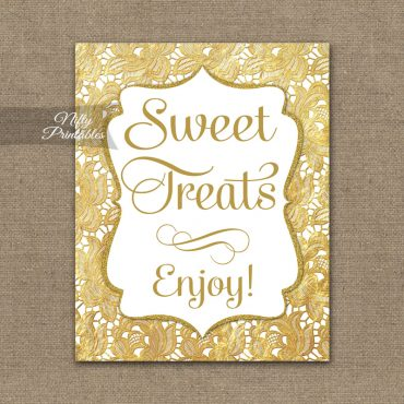 Sweet Treats Dessert Sign - Gold Lace