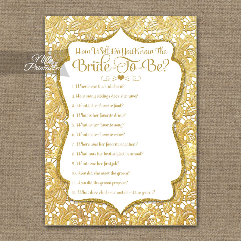 How Well Do You Know The Bride - Gold Lace