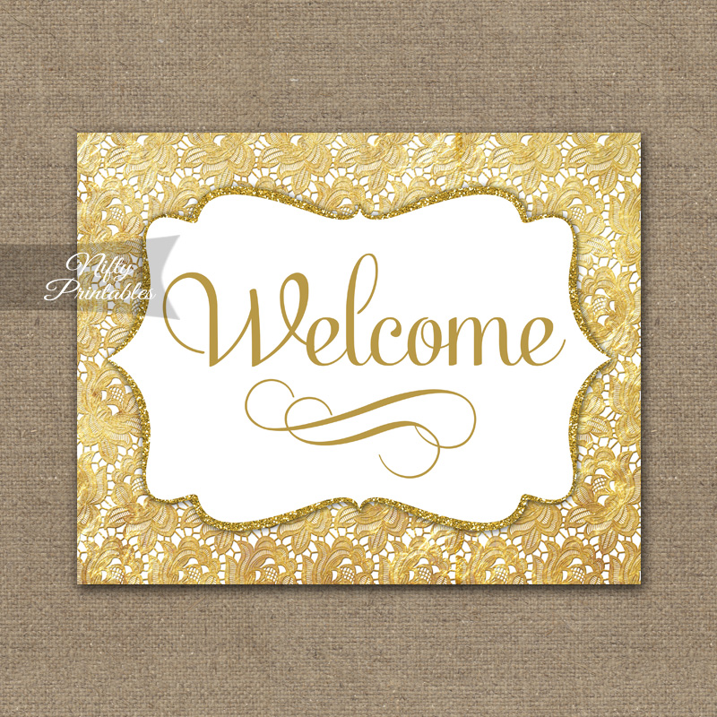Welcome Sign - Gold Lace