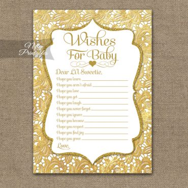 Wishes For Baby Shower Game - Gold Lace