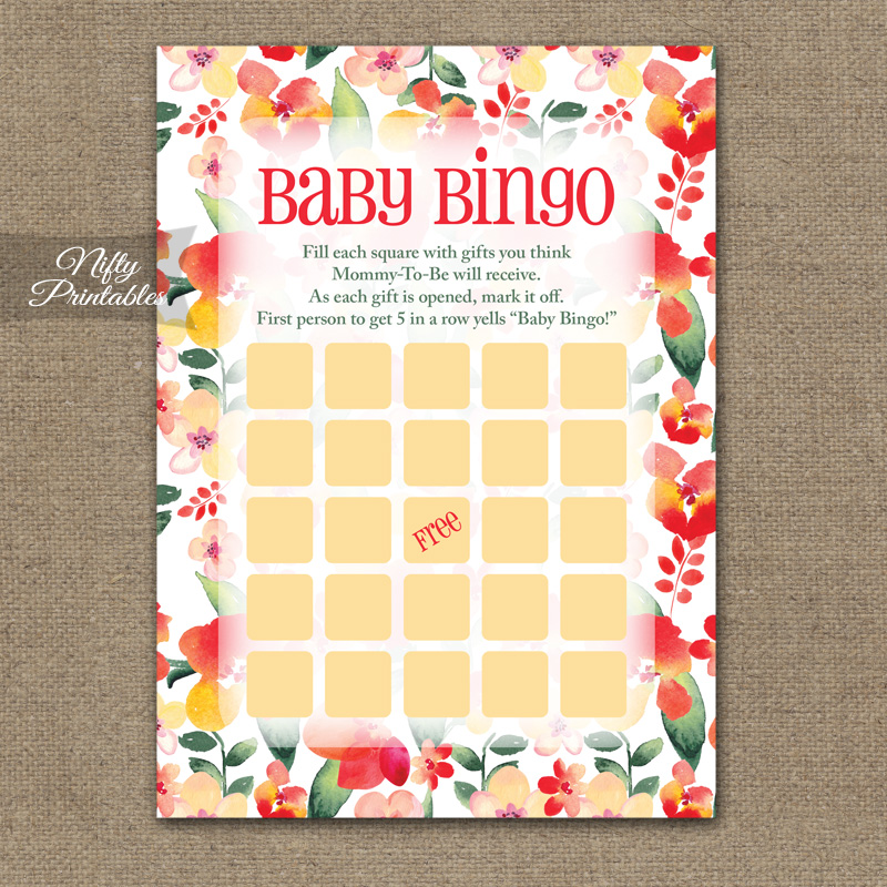 Baby Shower Bingo Game - Red Floral