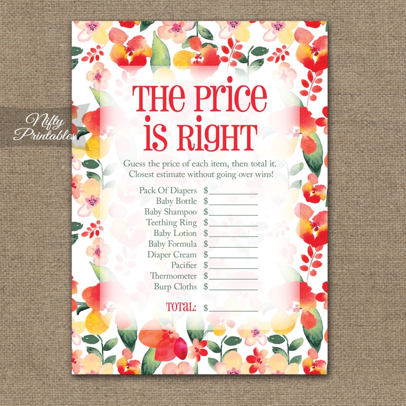 Price Is Right Baby Shower Game - Red Floral