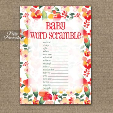 Baby Shower Word Scramble Game - Red Floral