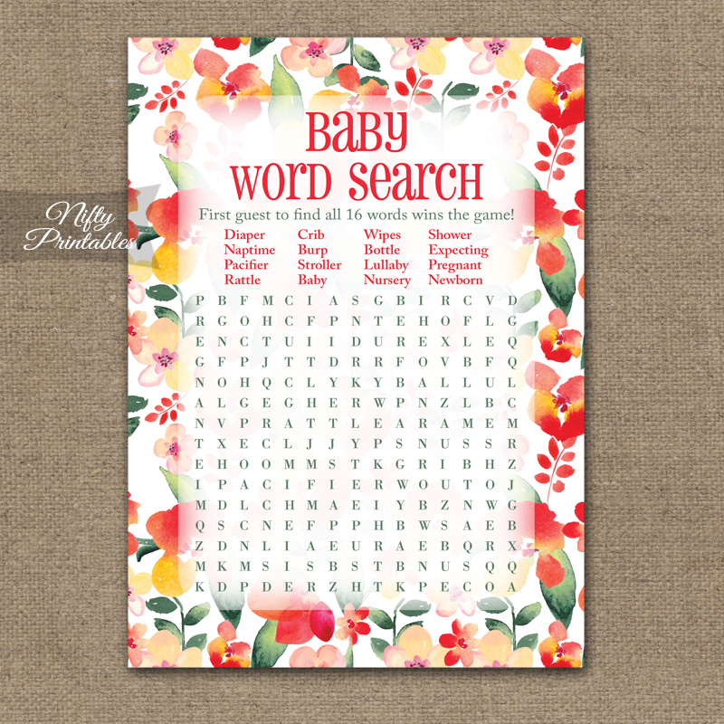 Baby Shower Word Search Game - Red Floral