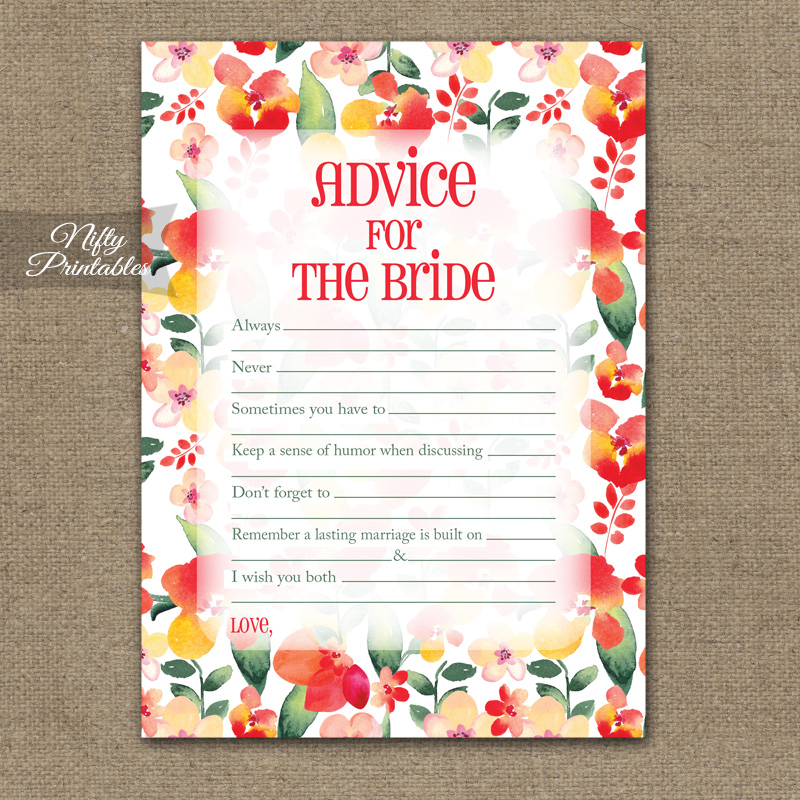 Bridal Shower Advice Cards - Red Floral