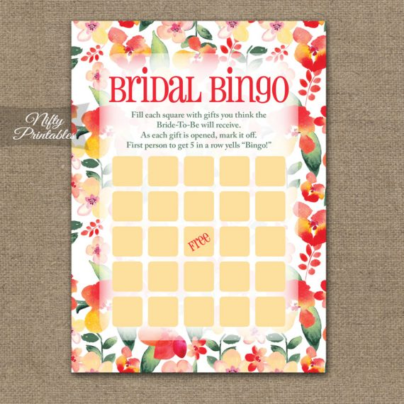 Bridal Shower Bingo Game - Red Floral
