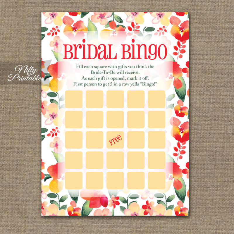 bridal shower bingo game red floral
