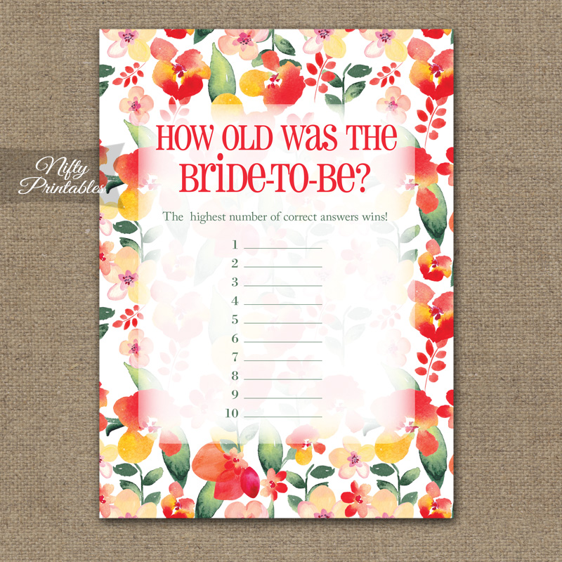 How Old Is The Bride Shower Game - Red Floral