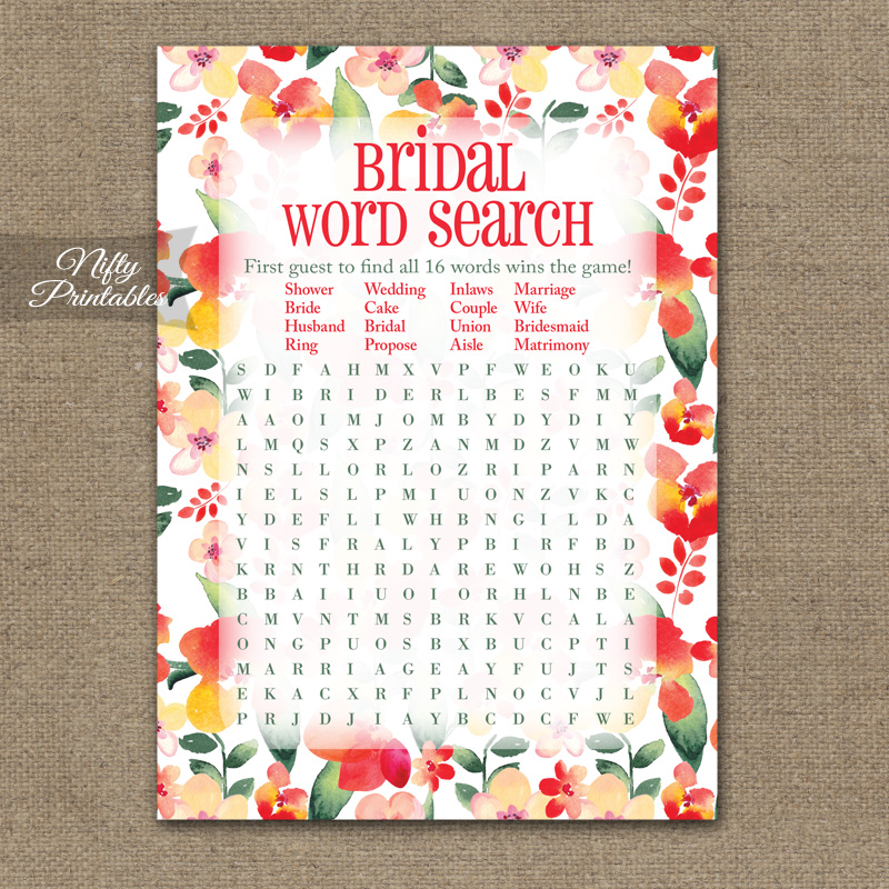 Bridal Shower Word Search Game - Red Floral