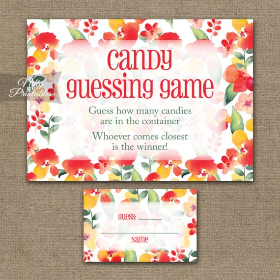 Candy Guessing Game - Red Floral