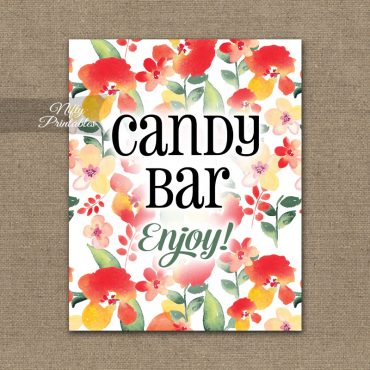 Candy Buffet Sign - Red Floral