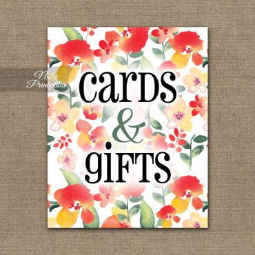 Cards & Gifts Sign - Red Floral