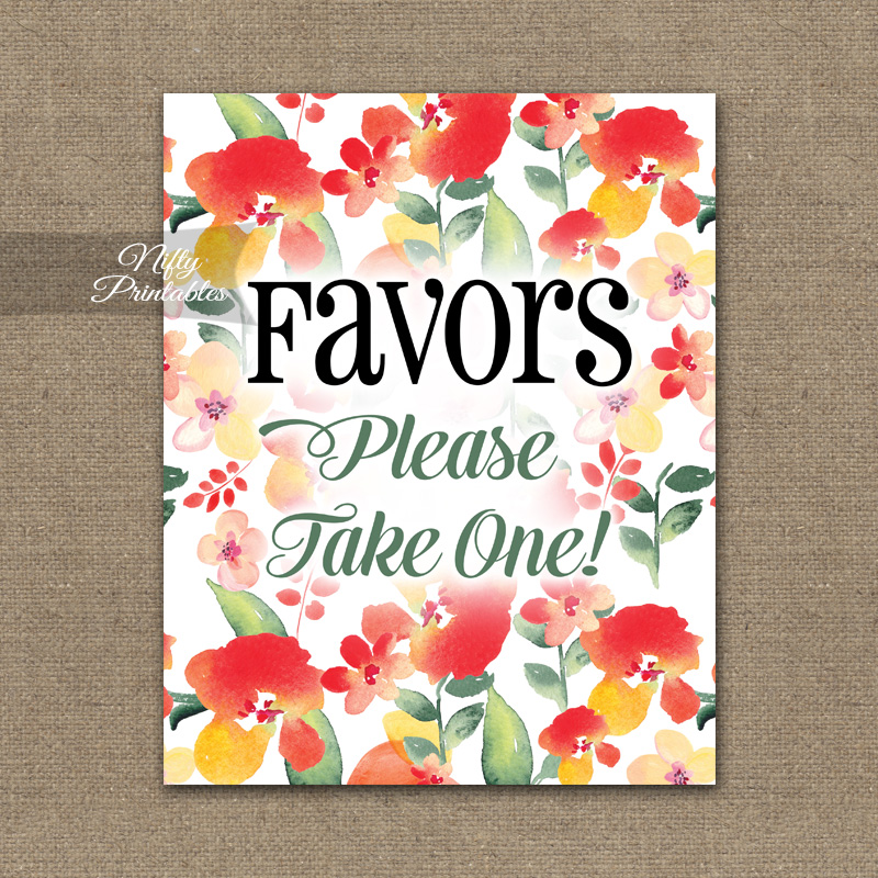Favors Sign - Red Floral