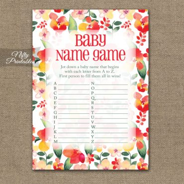Name Game Baby Shower - Red Floral