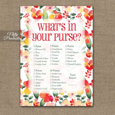 What's In Your Purse Game - Red Floral