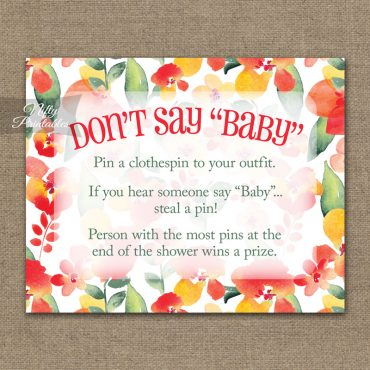 Don't Say Baby Shower Game - Red Floral