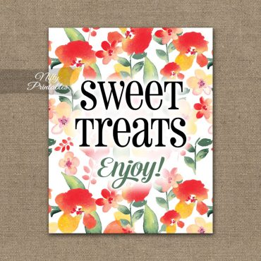 Sweet Treats Dessert Sign - Red Floral