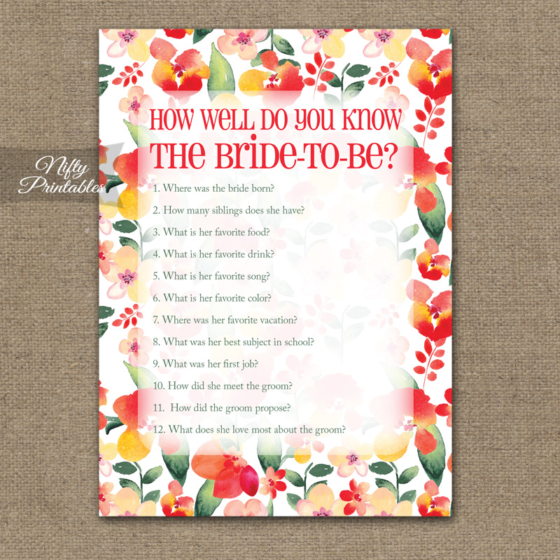 How Well Do You Know The Bride - Red Floral