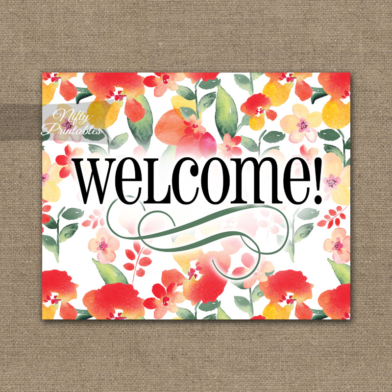 Welcome Sign - Red Floral