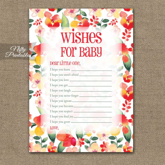 Wishes For Baby Shower Game - Red Floral