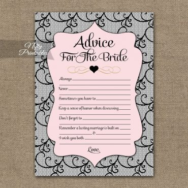 Bridal Shower Advice Cards - Pink Black Lace