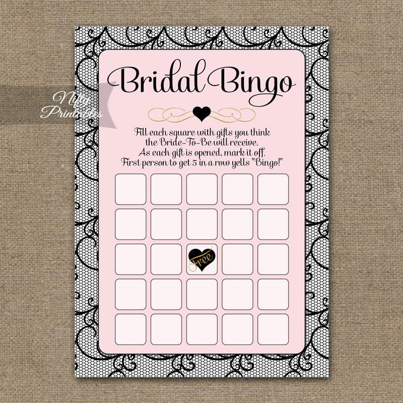 Bridal Shower Bingo Game - Pink Black Lace