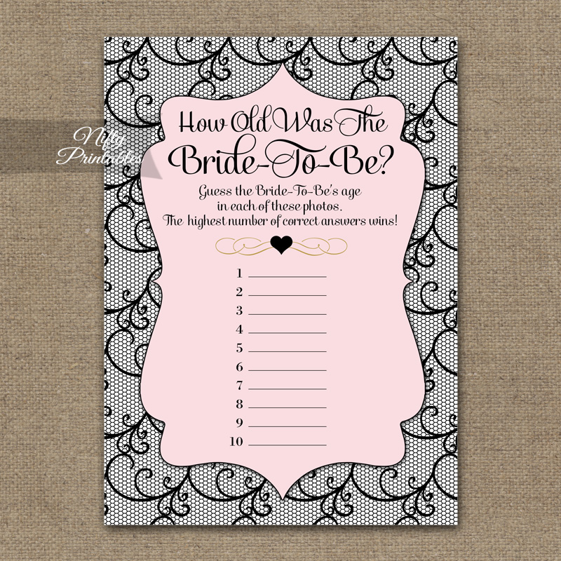 How Old Is The Bride Shower Game - Pink Black Lace
