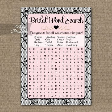 Bridal Shower Word Search Game - Pink Black Lace