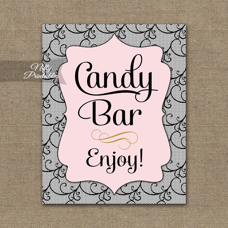 Candy Buffet Sign - Pink Black Lace
