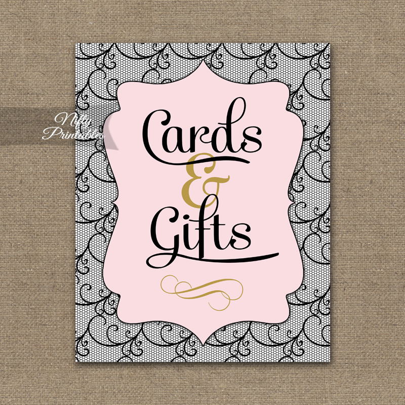 Cards & Gifts Sign - Pink Black Lace