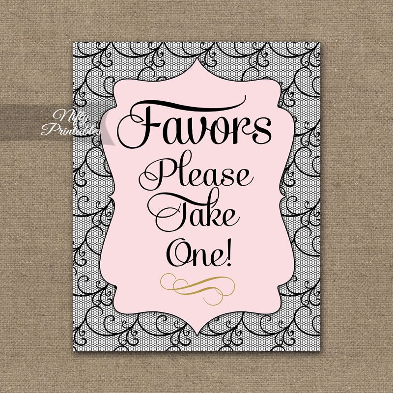 Favors Sign - Pink Black Lace