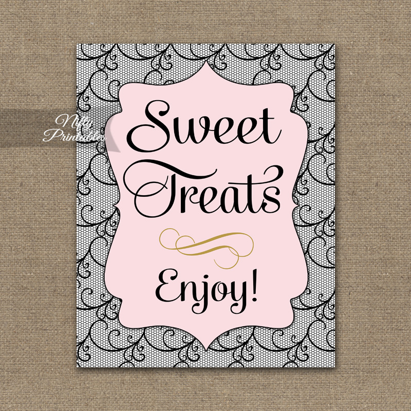 Sweet Treats Dessert Sign - Pink Black Lace