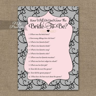 How Well Do You Know The Bride - Pink Black Lace