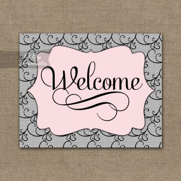 Welcome Sign - Pink Black Lace