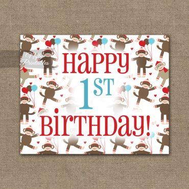 1st Birthday Sign - Sock Monkey