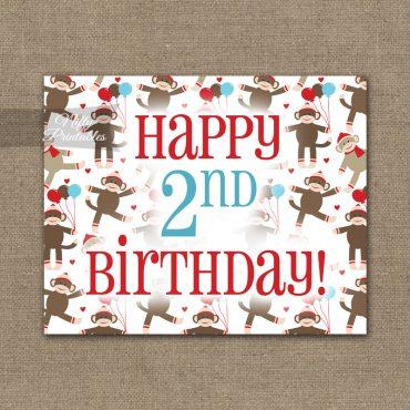 2nd Birthday Sign - Sock Monkey