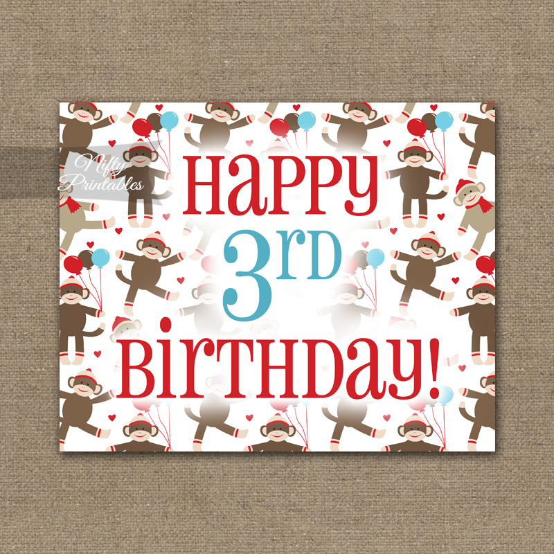 3rd Birthday Sign - Sock Monkey