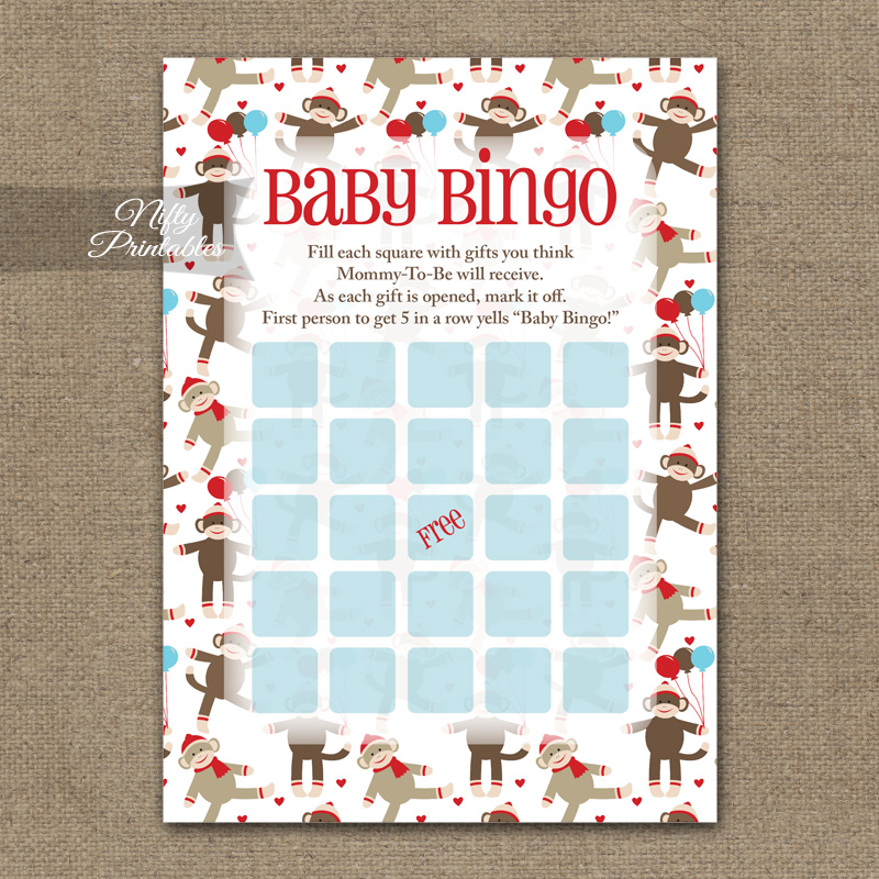 Baby Shower Bingo Game - Sock Monkey